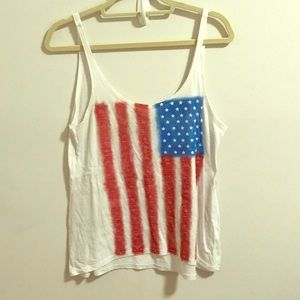 O'Neill American flag white tank top size medium